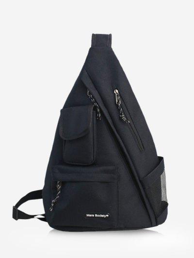 One Strap Multi-pocket Large Capacity Backpack - Black
