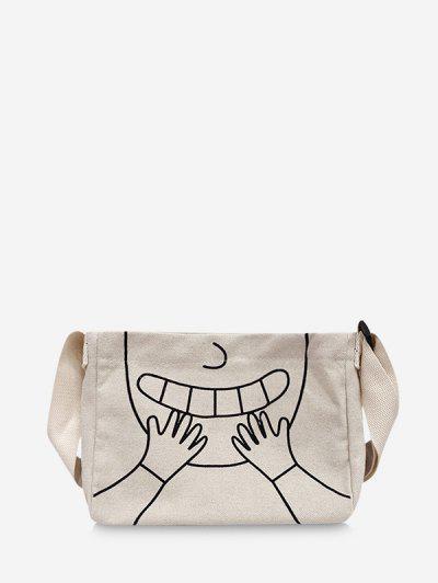 Cartoon Pattern Mini Canvas Sling Bag - White