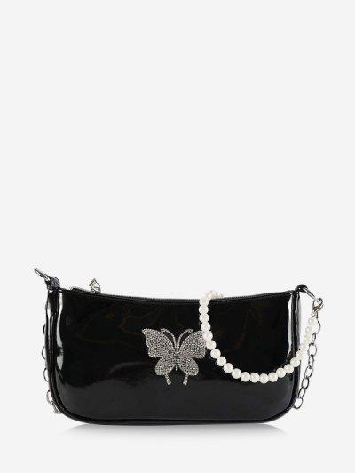 Butterfly Pattern Faux Pearl Shoulder Bag - Black