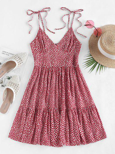 ZAFUL Tie Shoulder Ditsy Print Dress - Red L