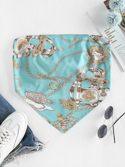 ZAFUL 3D Chain Print Strapless Bandana Top - Dark Turquoise Xl