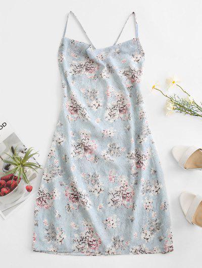 Criss Cross Open Back Floral Dress - Light Blue S