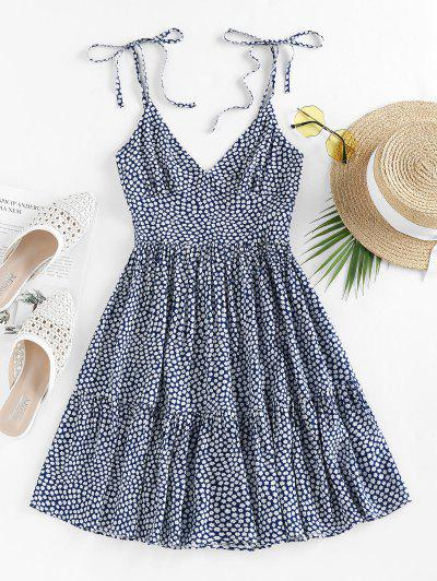 ZAFUL Tie Shoulder Ditsy Print Dress - Deep Blue M
