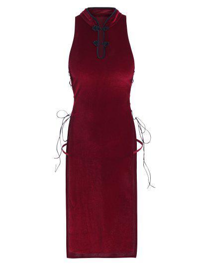 T-String Oriental En Velours Avec Lacet Sur Le Côtéavec T-String - Rouge