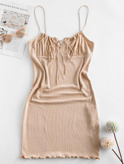 ZAFUL Ribbed Lettuce Tie Cami Mini Dress - Blanched Almond S