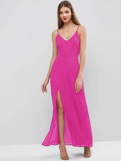 ZAFUL Slit Maxi Cami Dress - Rose Red L