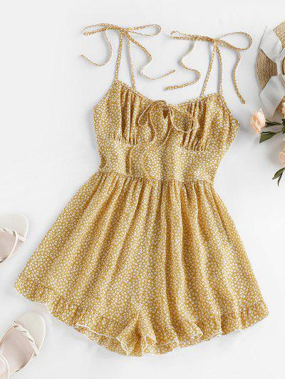 ZAFUL Flounce Tie Shoulder Tiny Floral Romper - Fall Leaf Brown S