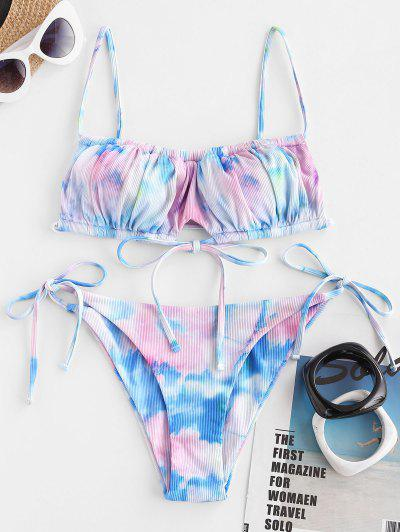 ZAFUL Tie Dye Ribbed Drawstring String Bikini Swimwear - Multi S