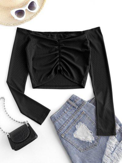 Off The Shoulder Ribbed Ruched Crop Top - Black S