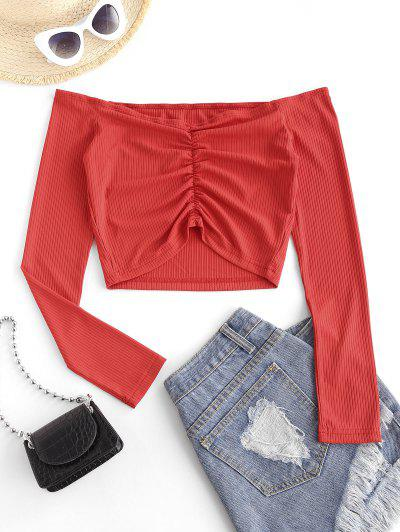 Off The Shoulder Ribbed Ruched Crop Top - Red M