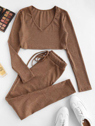 Ribbed Heathered Knit Two Piece Set - Coffee S