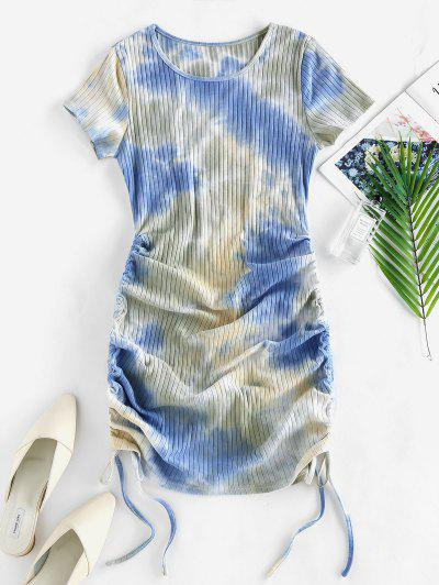 ZAFUL Cinched Tie Dye Ribbed Bodycon Dress - Light Blue S