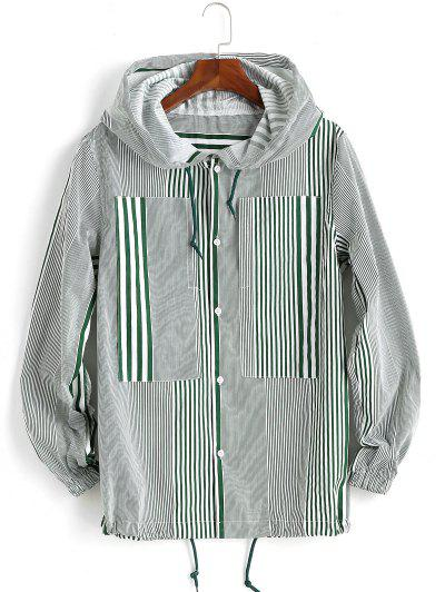 Hooded Double Pockets Striped Print Drawstring Jacket - Green M