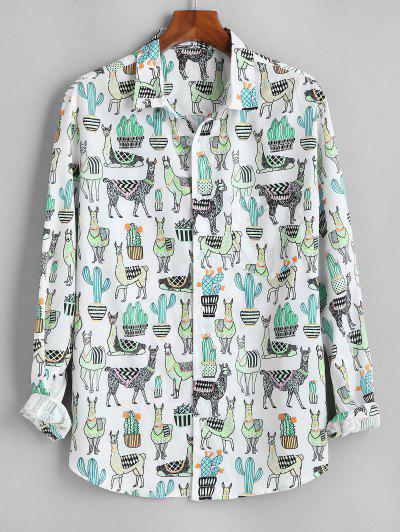 Cactus Camel Print Button Up Pocket Shirt - White 2xl