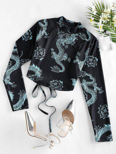 ZAFUL Dragon Print Oriental Open Back Long Sleeve T-shirt - Black S