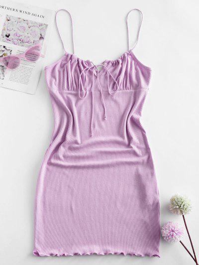 ZAFUL Ribbed Lettuce Tie Cami Mini Dress - Light Purple S