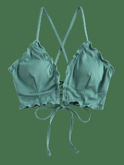ZAFUL Ribbed Frilled Lace-up Ladder Bikini Top