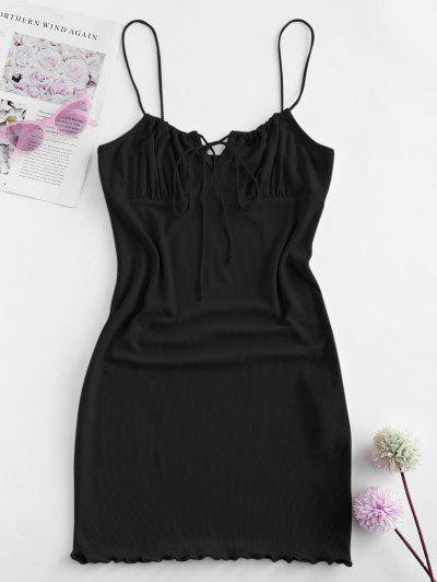 ZAFUL Ribbed Lettuce Tie Cami Mini Dress - Black L