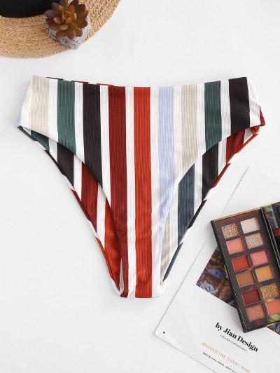 ZAFUL Rainbow Ribbed High Waisted Bikini Bottom - Multi M