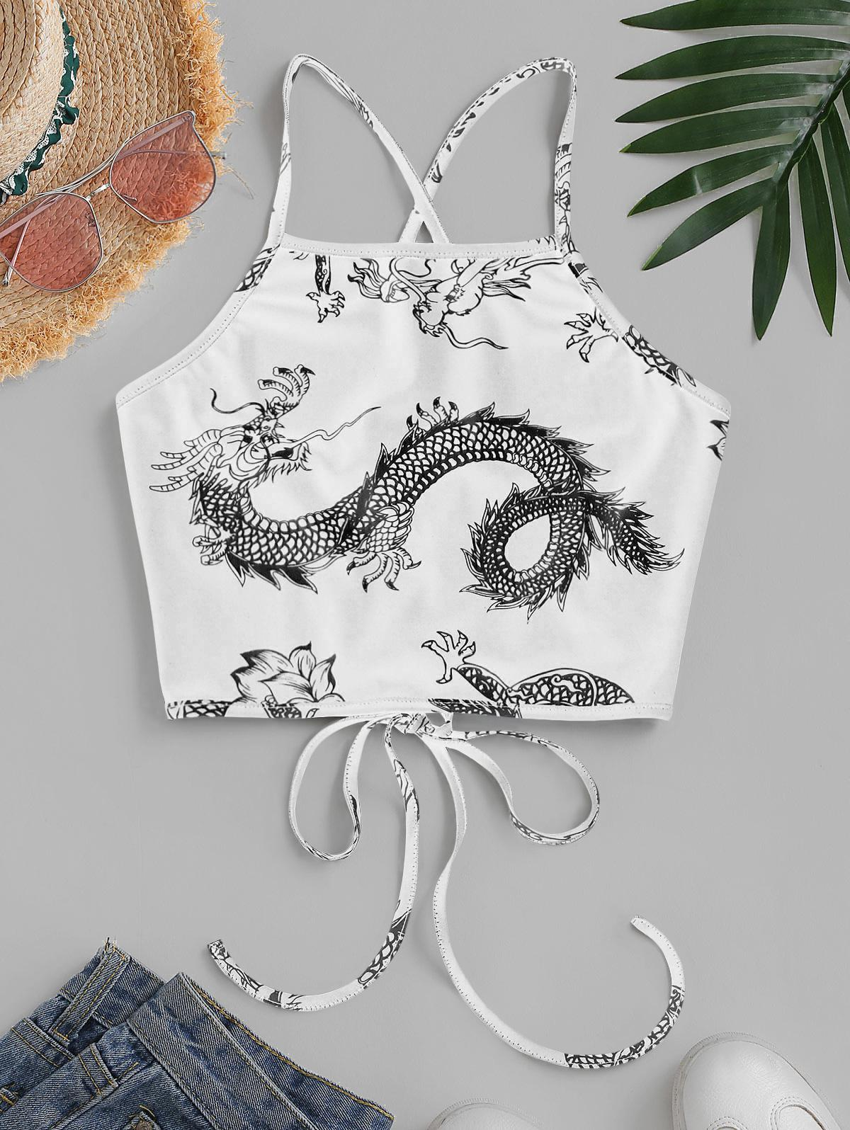 ZAFUL Dragon Print Oriental Lace Up Crop Camisole