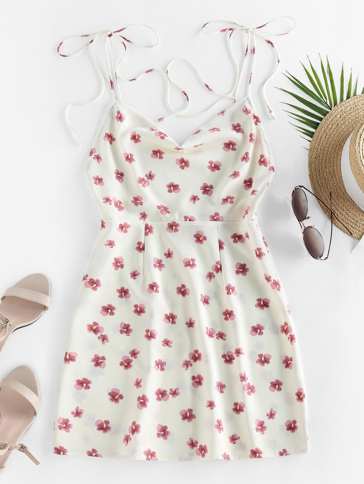 ZAFUL Ditsy Print Tie Shoulder Backless Dress