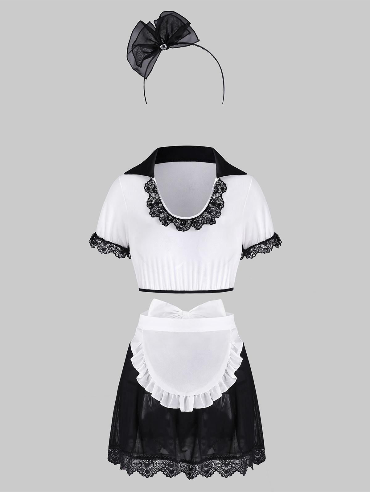 Lace Trim Sheer Mesh Lingerie Maid Costume