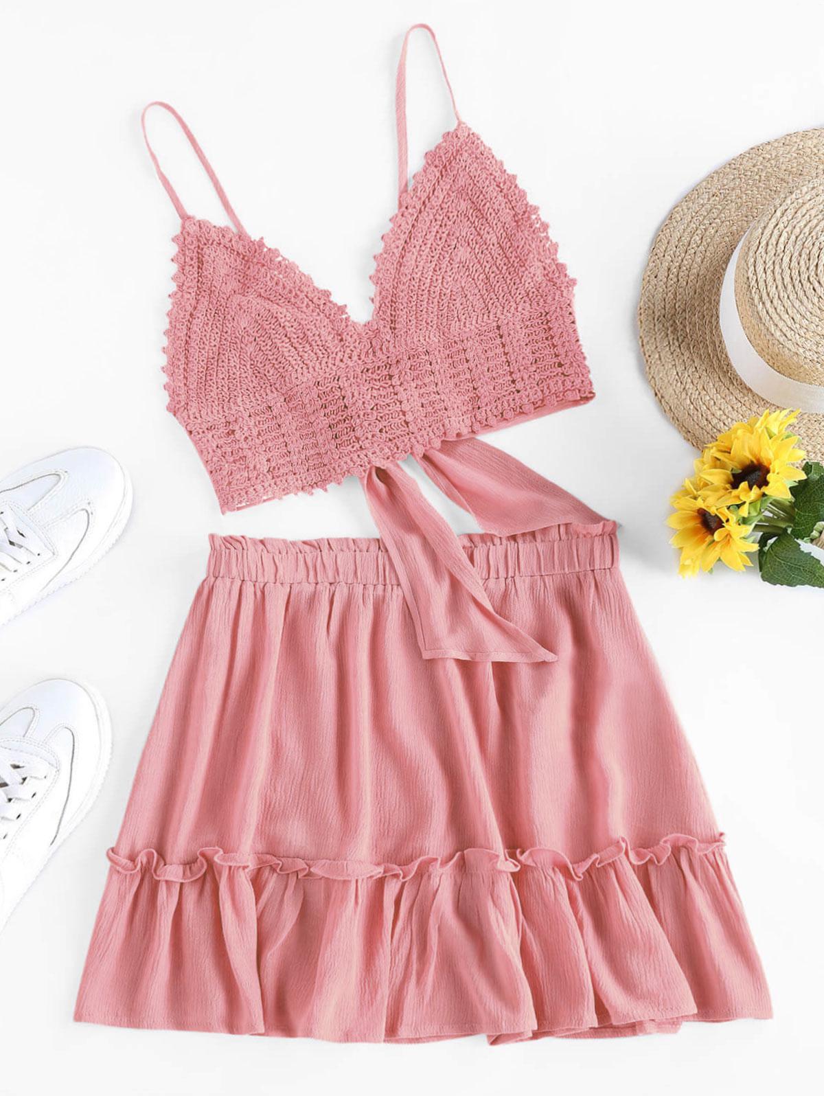 ZAFUL Crochet Tie Back Frill Skirt Set