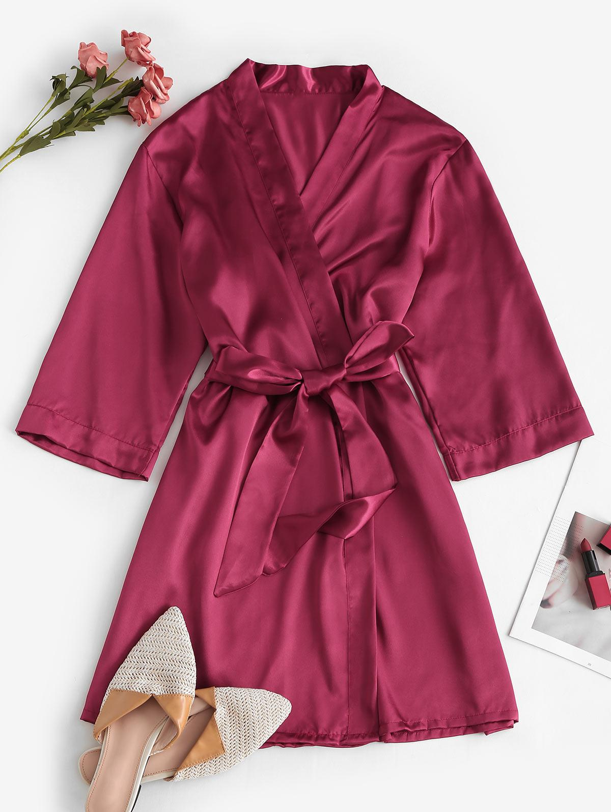 Belted Embroidered Back Satin Robe