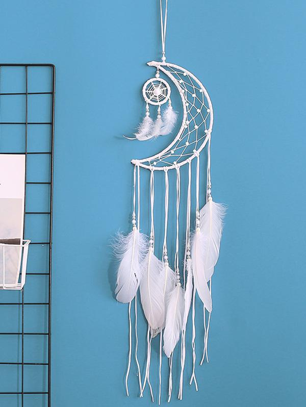 Home Decoration Crescent Shape Beaded Feather Dream Catcher