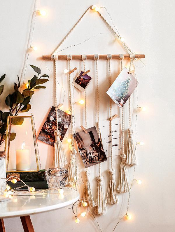 Tasseled Macrame Wall Hanging Photo Holder with Clips