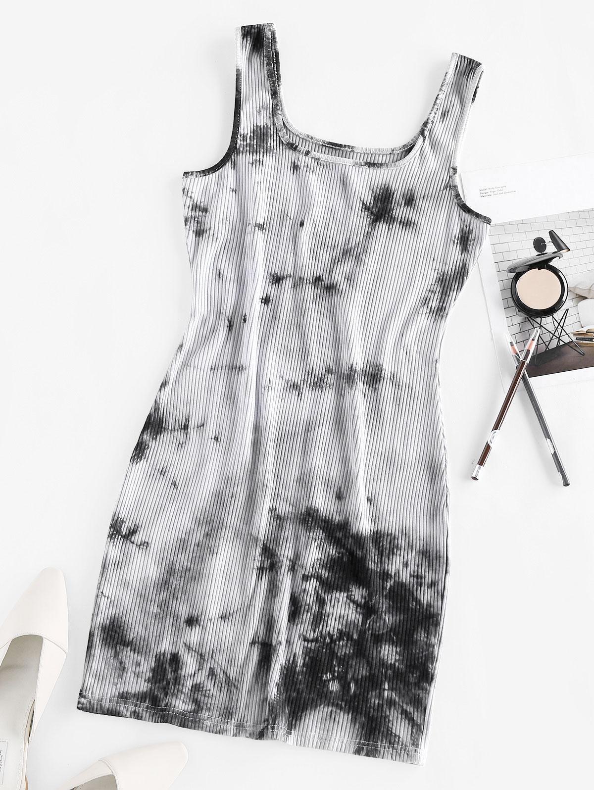 ZAFUL Ribbed Tie Dye Bodycon Tank Dress