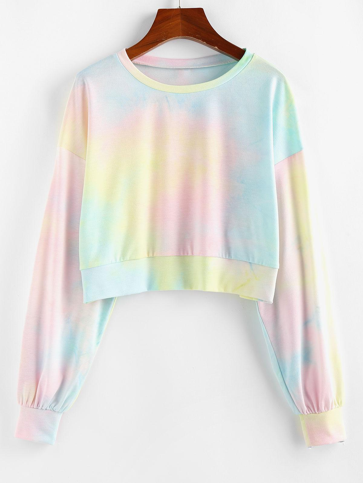 ZAFUL Drop Shoulder Tie Dye Sweatshirt