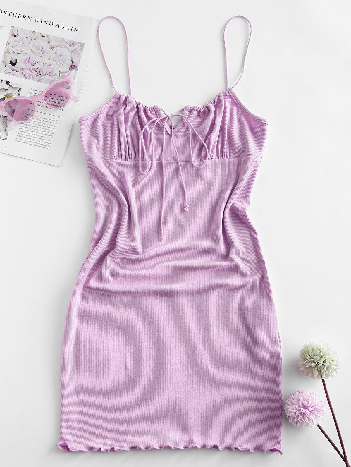 ZAFUL Ribbed Lettuce Tie Cami Mini Dress