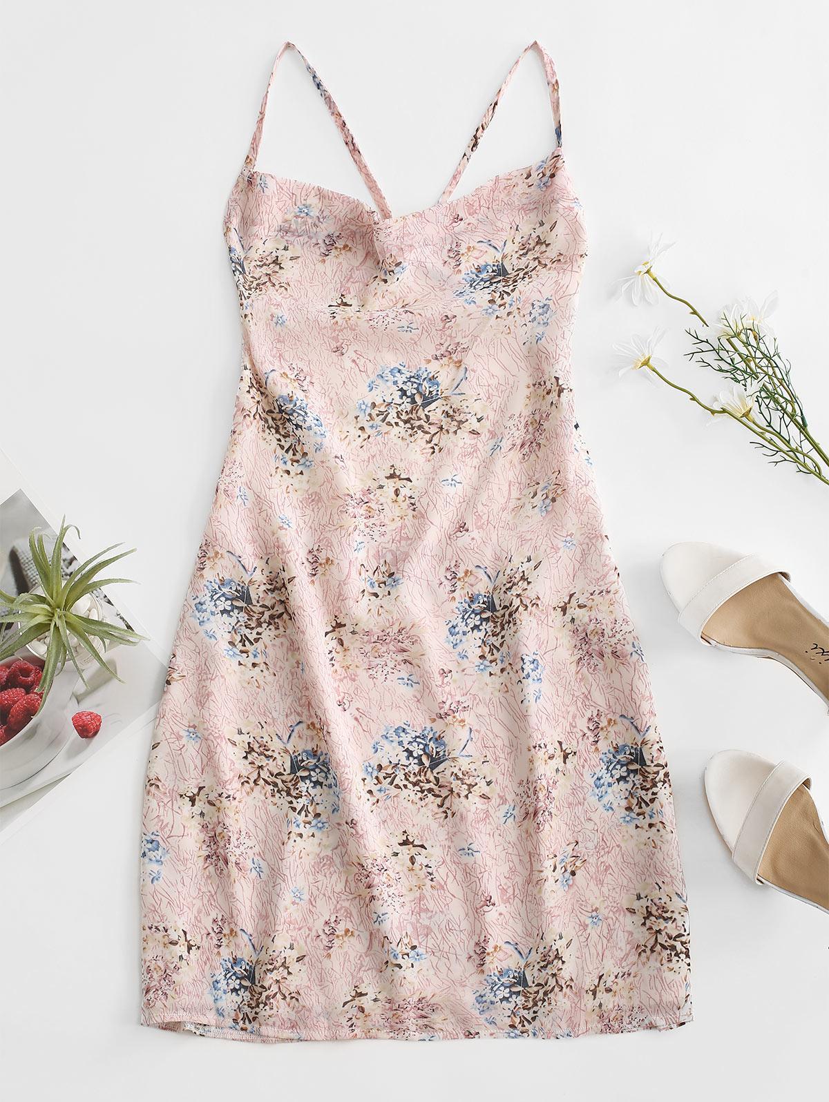 Criss Cross Open Back Floral Dress