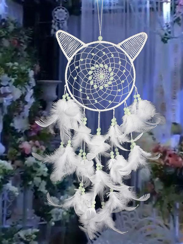 Home Decoration Cat Ear Shape Luminous Beaded Feather Dream Catcher
