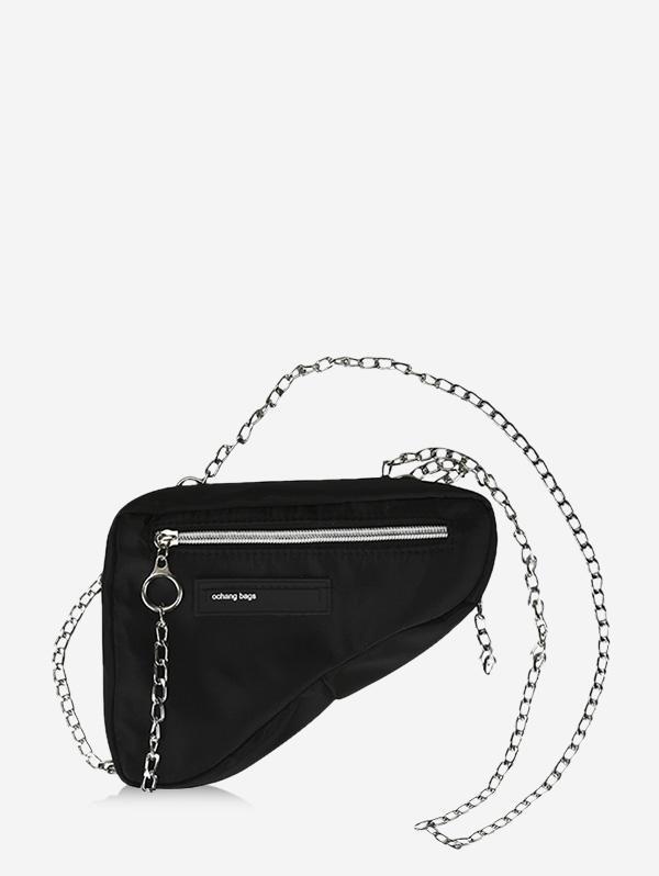 Chain Zipper Closure Triangle Crossbody Bag