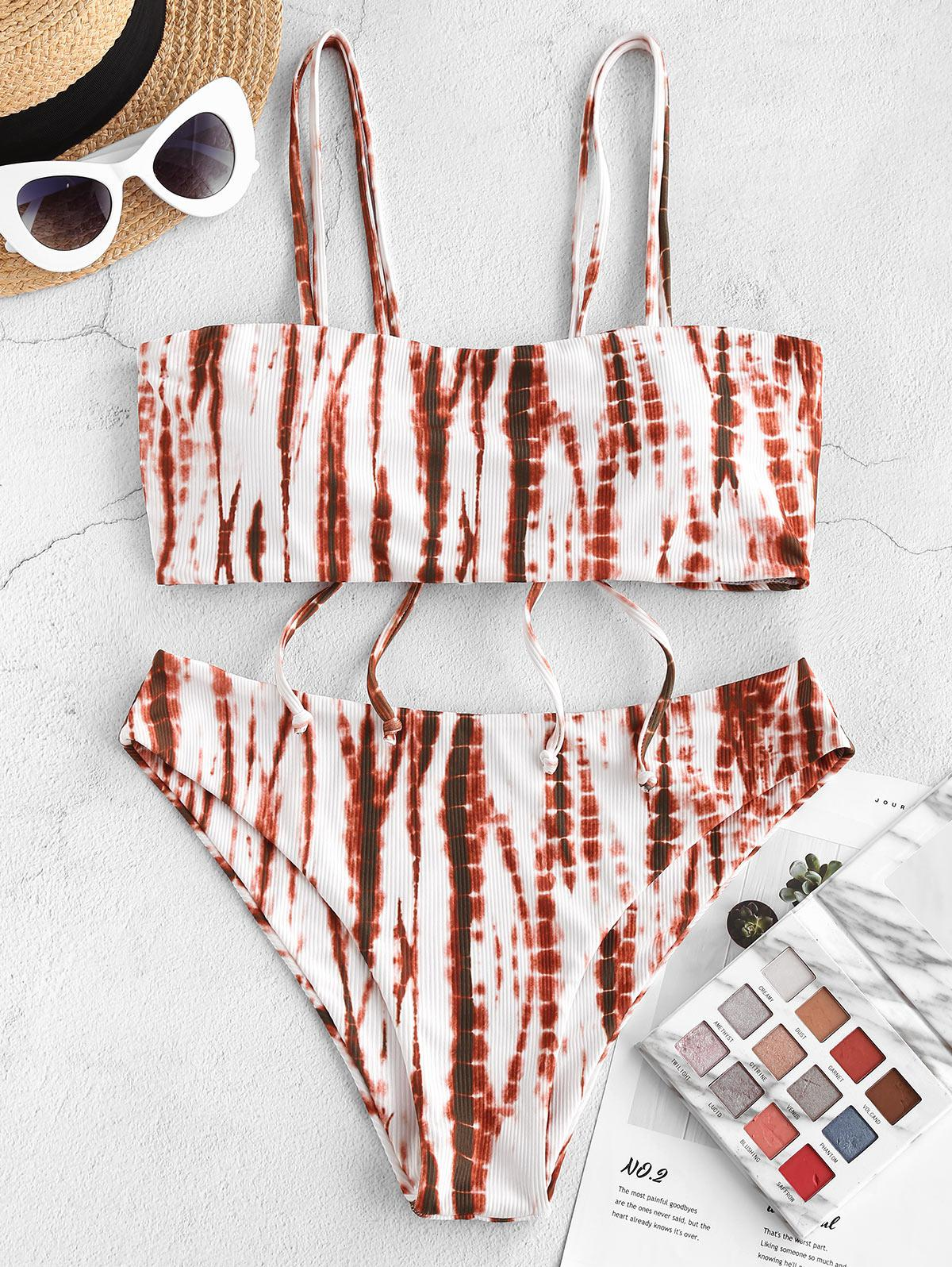 ZAFUL Ribbed Tie Dye Cinched Bikini Swimwear