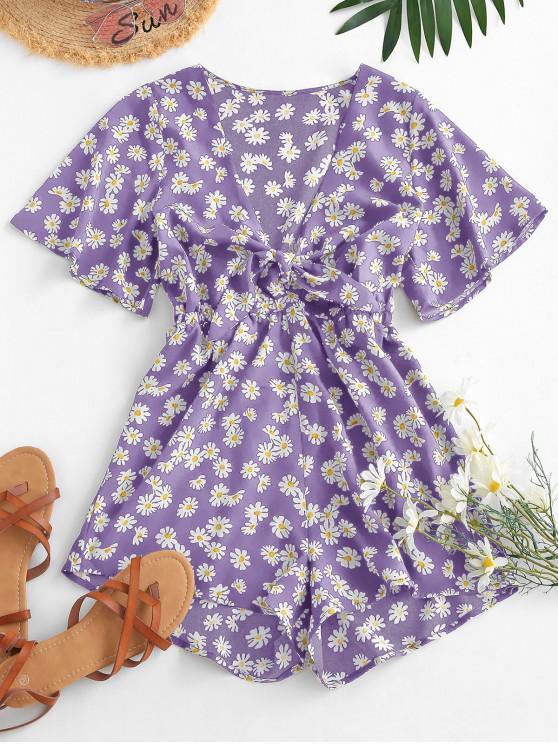 women's Elastic Waist Daisy Print Tie Front Romper - PURPLE S
