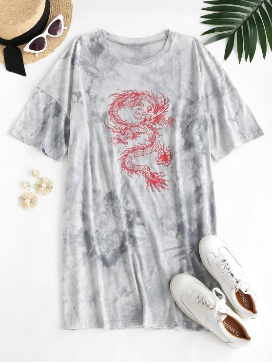 unique ZAFUL Oriental Tie Dye Dragon Print Tee Dress - LIGHT GRAY XL