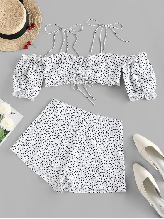 affordable ZAFUL Valentine Heart Print Tie Shoulder Two Piece Set - WHITE XL