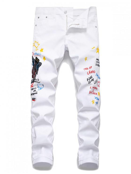 chic Angel Letter Grafitti Zipper Fly Jeans Pencil Pants - WHITE 34