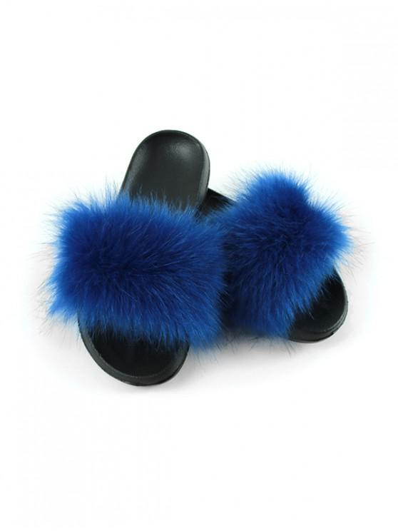 best Faux Fur Casual Flat Slides - BLUE EU (38-39)