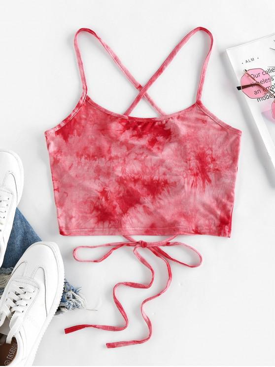hot ZAFUL Tie Dye Lace Up Crop Cami Top - RED L
