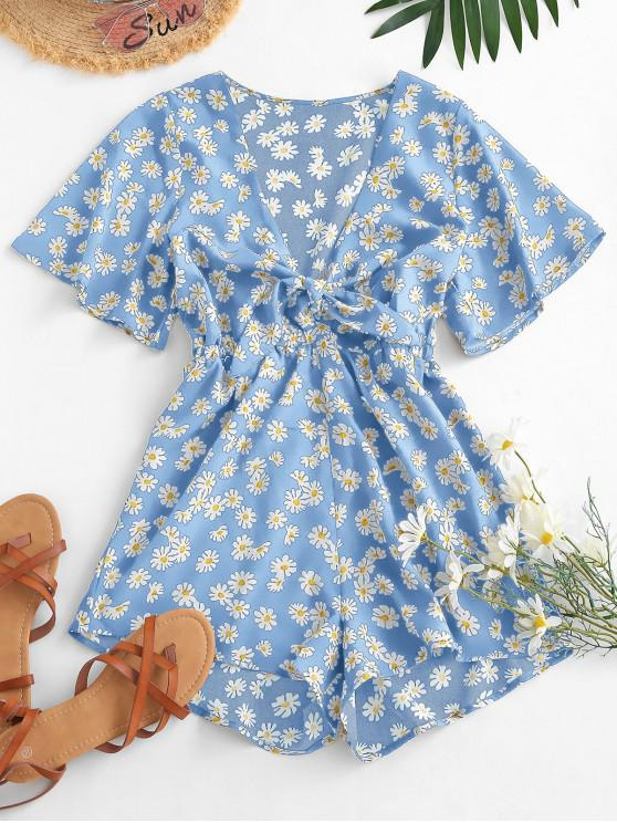 Elastic Waist Daisy Print Tie Front Romper - أزرق فاتح S