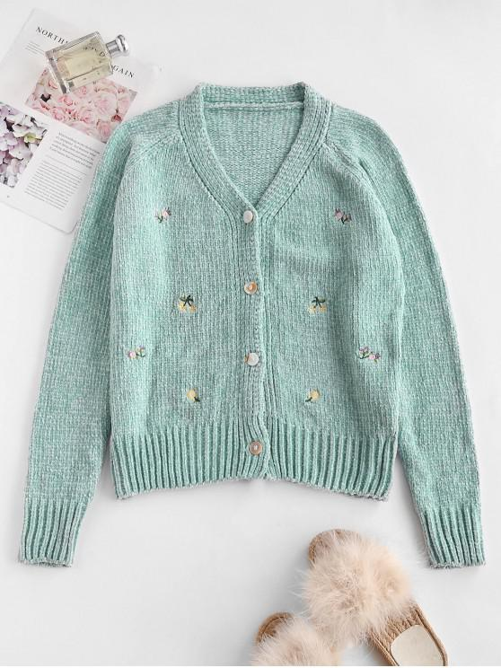 trendy Chenille Flower Embroidered Raglan Sleeve Cardigan - GREEN ONE SIZE