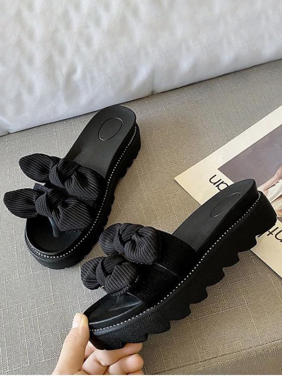 lady Double Bowknot Platform Slides Sandals - BLACK EU 40