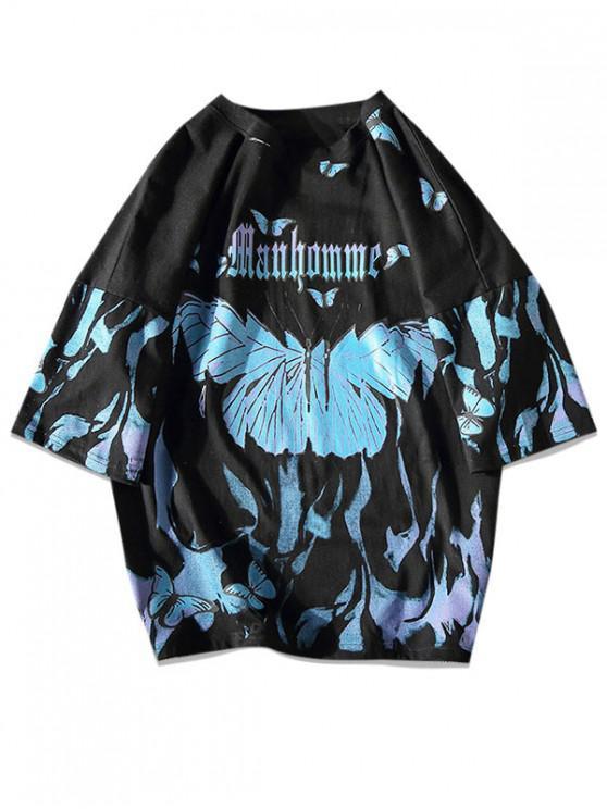 Paint Butterfly Print picătură umăr T-shirt - Negru L