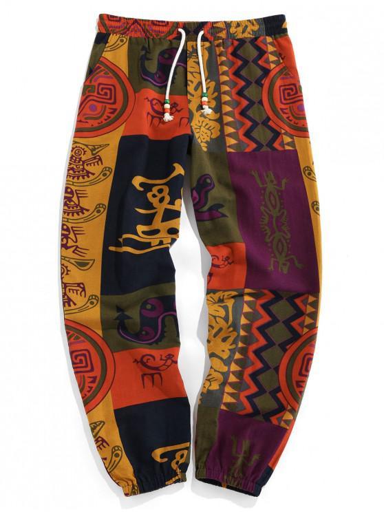 buy ZAFUL Tribal Graphic Patch Print Elastic Waist Jogger Pants - DEEP YELLOW M