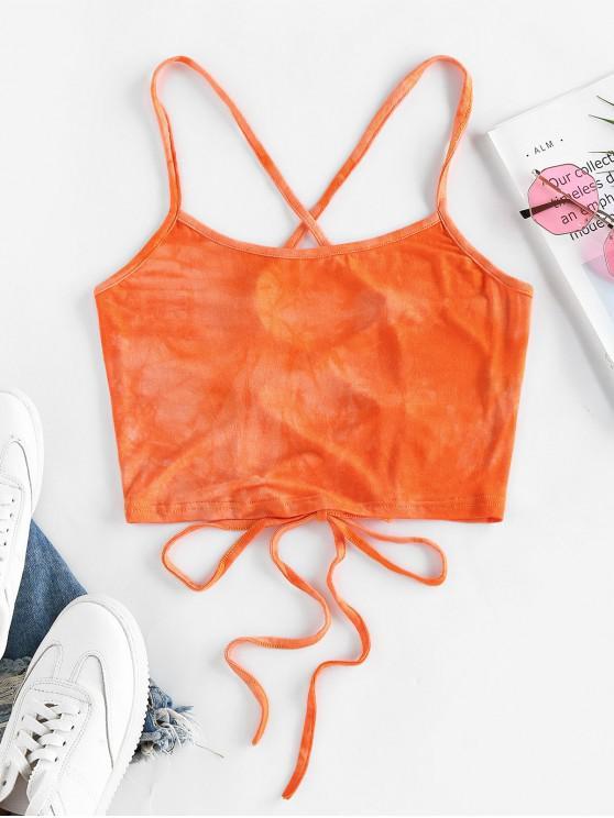 online ZAFUL Tie Dye Lace Up Crop Cami Top - DARK ORANGE S