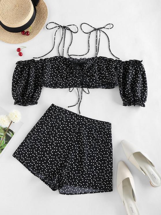 shop ZAFUL Valentine Heart Print Tie Shoulder Two Piece Set - BLACK S